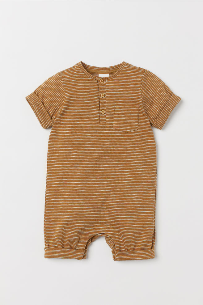 beadf519dfb Cotton Jumpsuit - Mustard yellow white striped - Kids