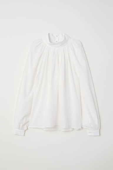 Balloon-sleeved blouse - White - Ladies | H&M