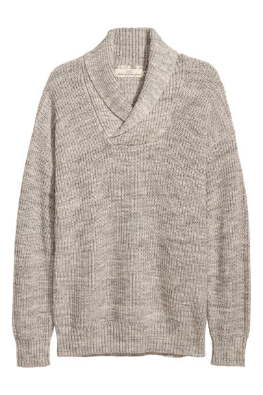 Shawl-collar jumper - Grey marl - Men | H&M