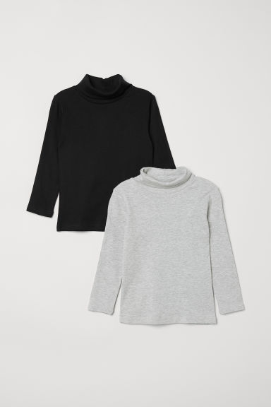 2-pack polo-neck tops - Grey marl - Kids | H&M