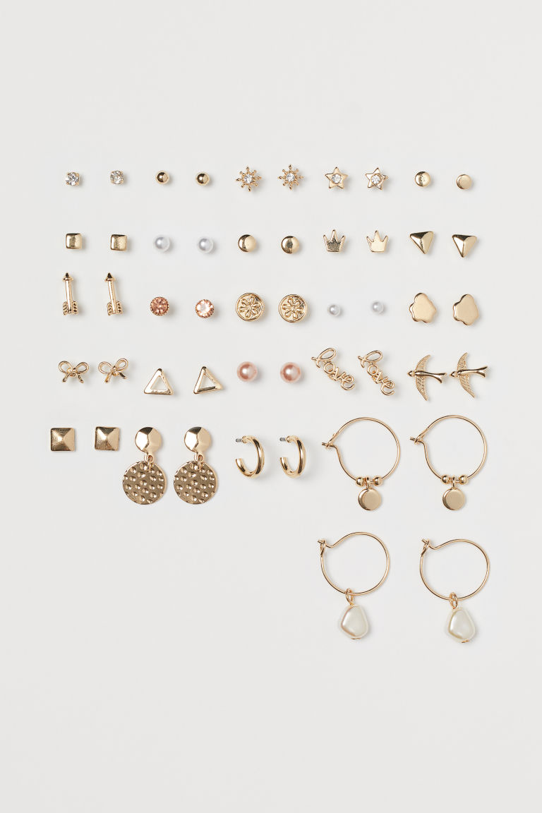 25 Pairs Earrings - Gold-colored/light pink - Ladies | H&M CA