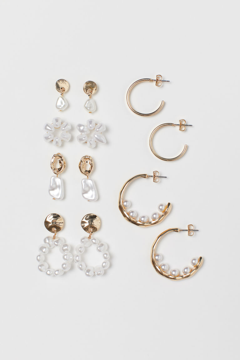 6 Pairs Earrings - Gold-colored/white - Ladies | H&M CA