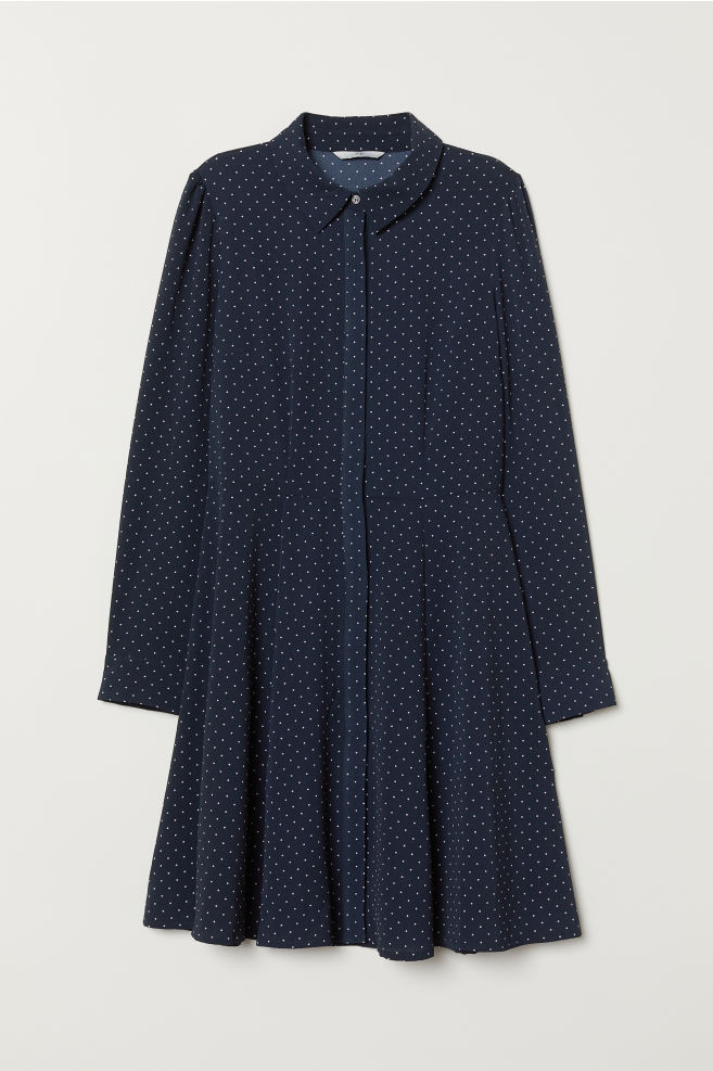 3b3ed898b3f03 Robe chemise - Bleu foncé/blanc/pois - FEMME   H&M ...
