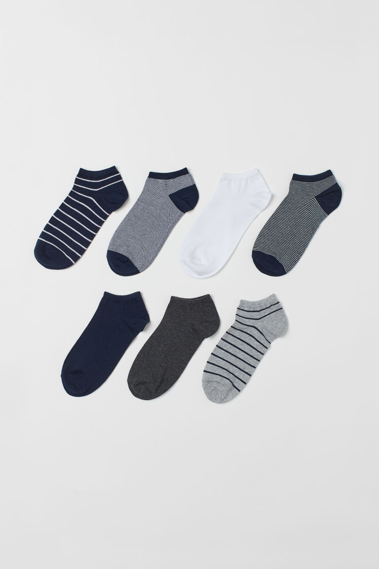 7-pack calcetines al tobillo - Azul oscuro/Rayado - Men | H&M MX