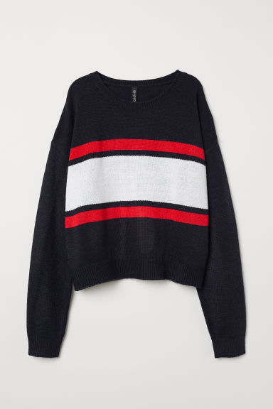 Knitted jumper - Dark blue/Stripes -  | H&M