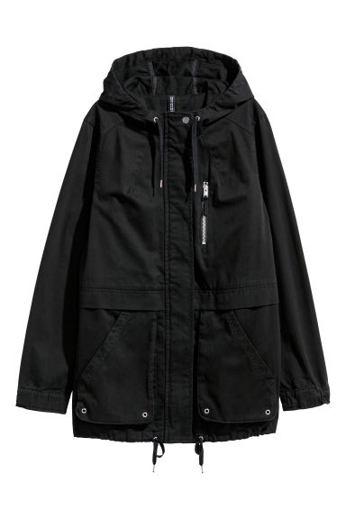 Twill parka with a hood - Black - Ladies | H&M