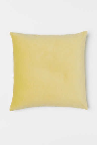 Velvet cushion cover - Light yellow -  | H&M CN