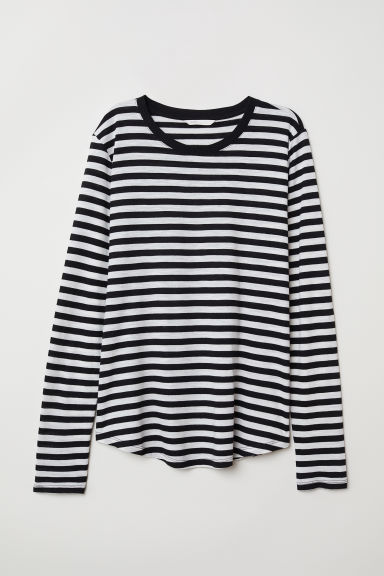 Long-sleeved Jersey Top - Black/white striped - Ladies | H&M US
