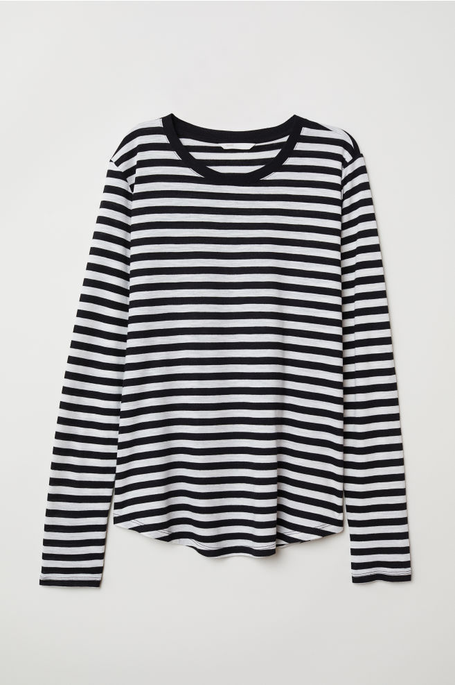 9968d3fa4a64cd Long-sleeved Jersey Top - Black white striped - Ladies