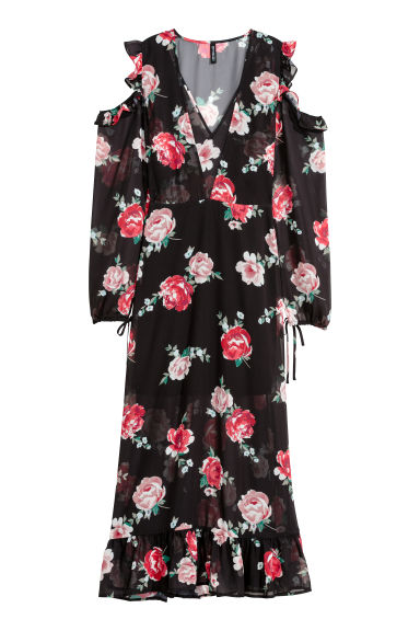 Cold shoulder dress - Black/Floral - Ladies | H&M