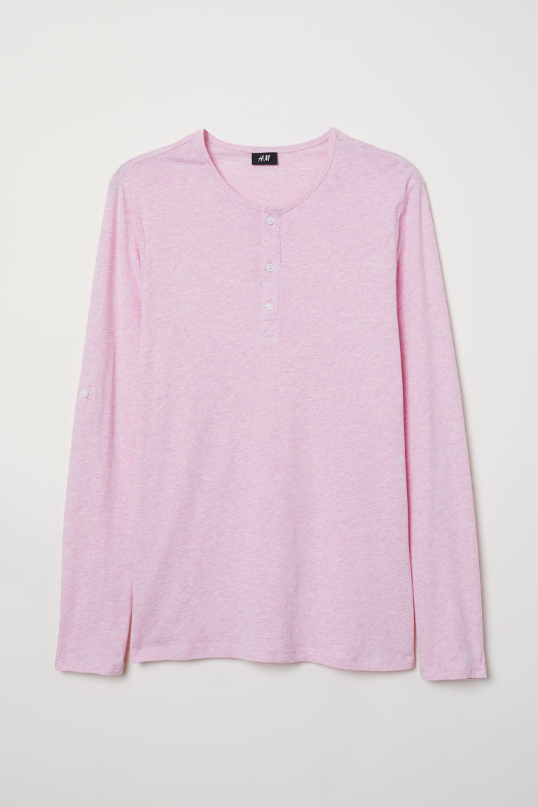Cotton jersey Henley shirt - Light pink marl - Men | H&M CN