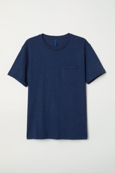 T-shirt with a chest pocket - Dark blue -  | H&M
