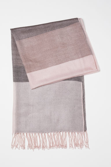Woven scarf - Powder pink/Block-coloured - Ladies | H&M