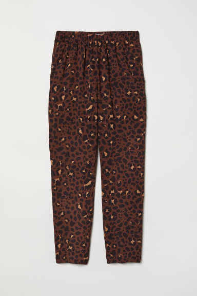 Pull-on trousers - Brown/Leopard print - Ladies | H&M