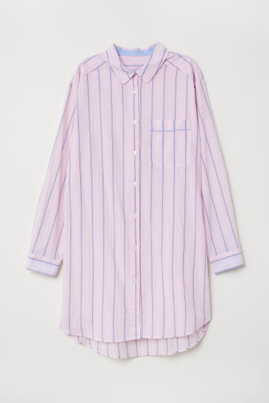 Cotton nightshirt - Light pink/Striped -  | H&M CN