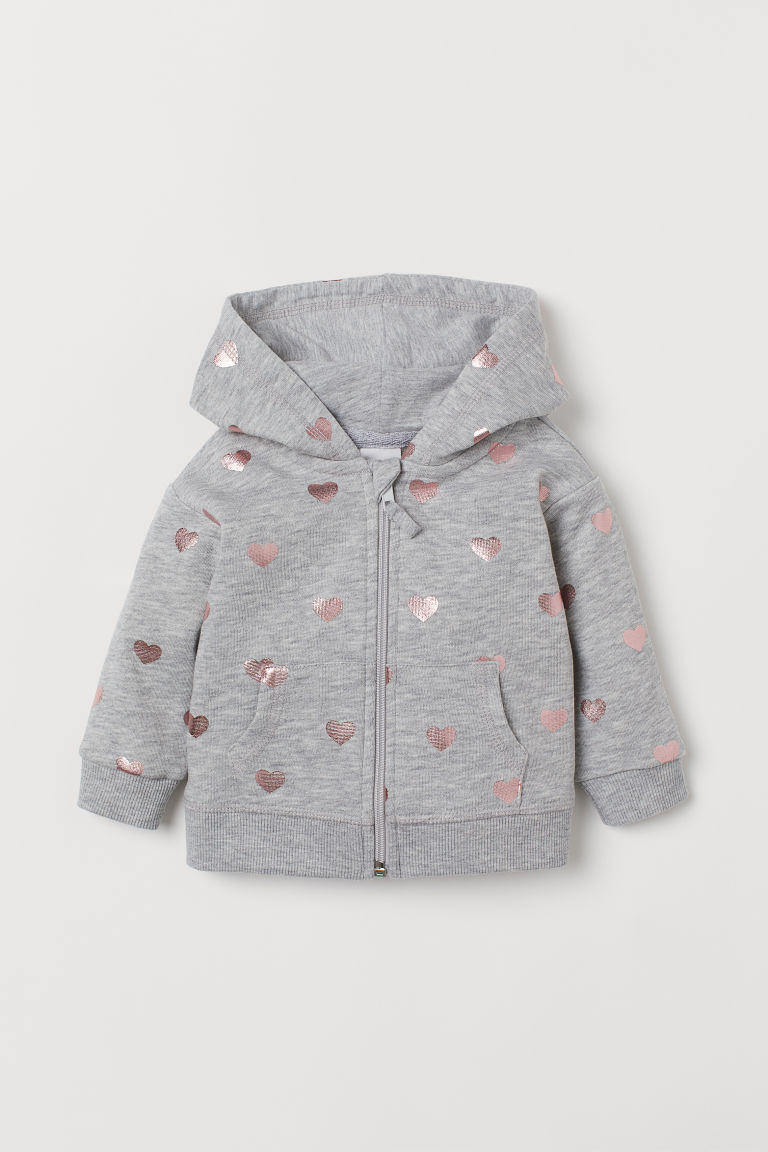 Hooded jacket - Light grey marl/Hearts - Kids | H&M