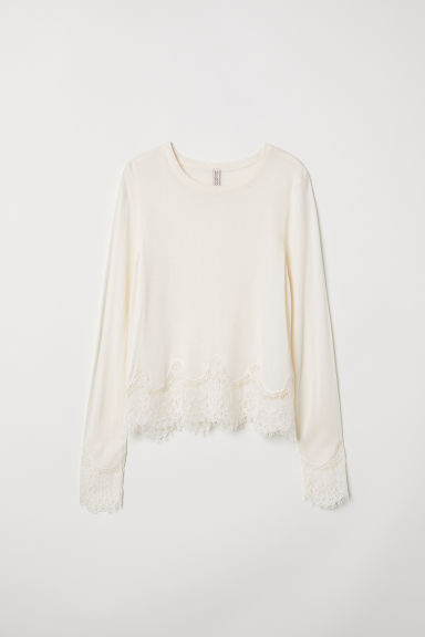 Jumper with lace details - Cream - Ladies | H&M