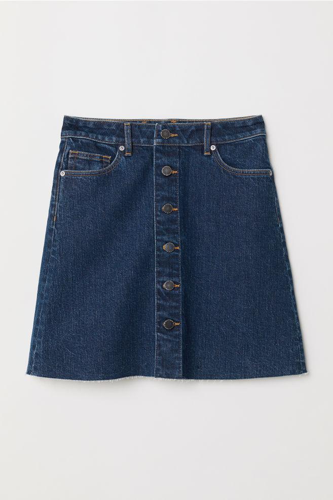Jupe trapèze en jean - Bleu denim foncé - FEMME   H M ... 1c72235a6d77