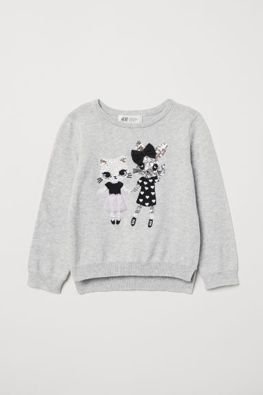 Jumper with a sequined motif - Light grey/Cat and rabbit - Kids | H&M