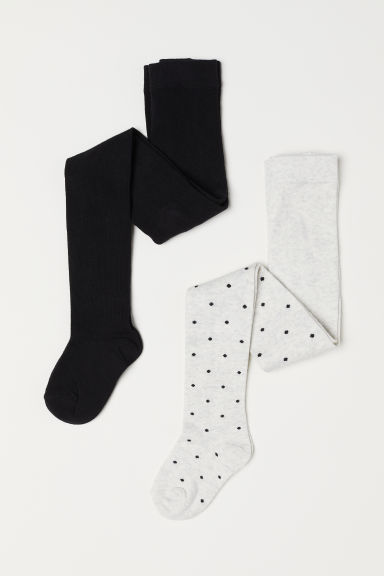 2-pack fine-knit tights - Light grey marl/Spotted - Kids | H&M