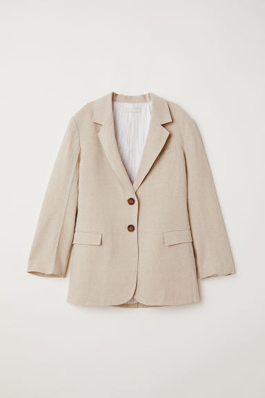 Linen jacket - Light beige -  | H&M