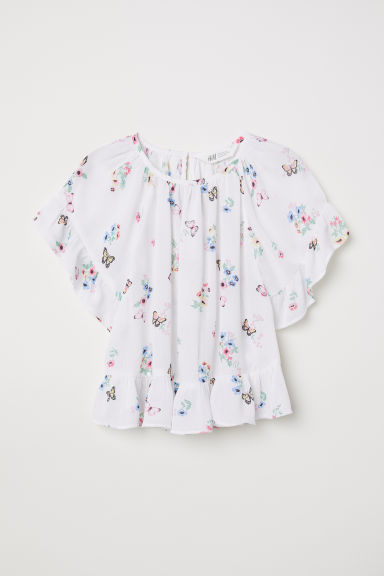 Crinkled blouse - White/Floral -  | H&M