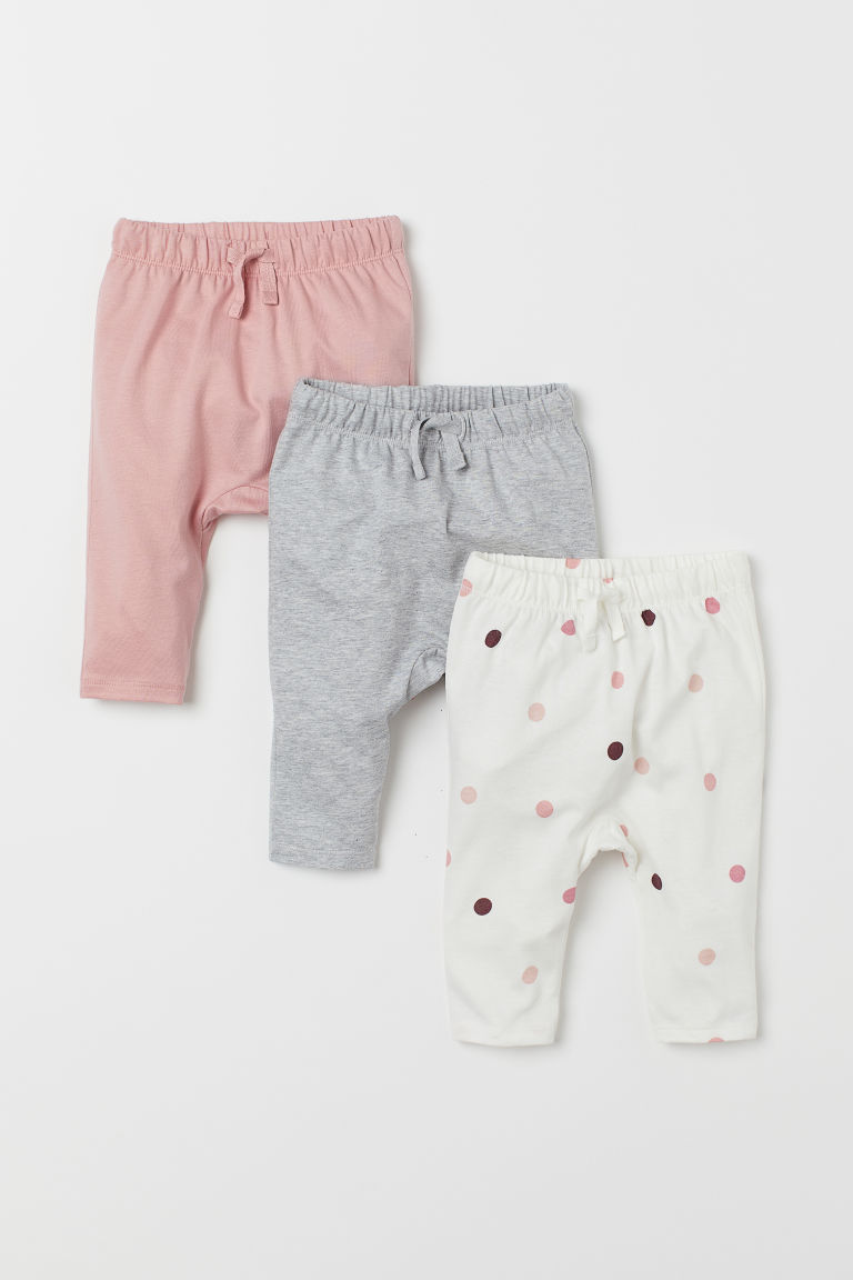 3-pack jersey trousers - White/Spotted - Kids | H&M