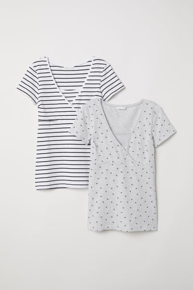 MAMA 2-pack nursing tops - Grey/Blue striped -  | H&M IE