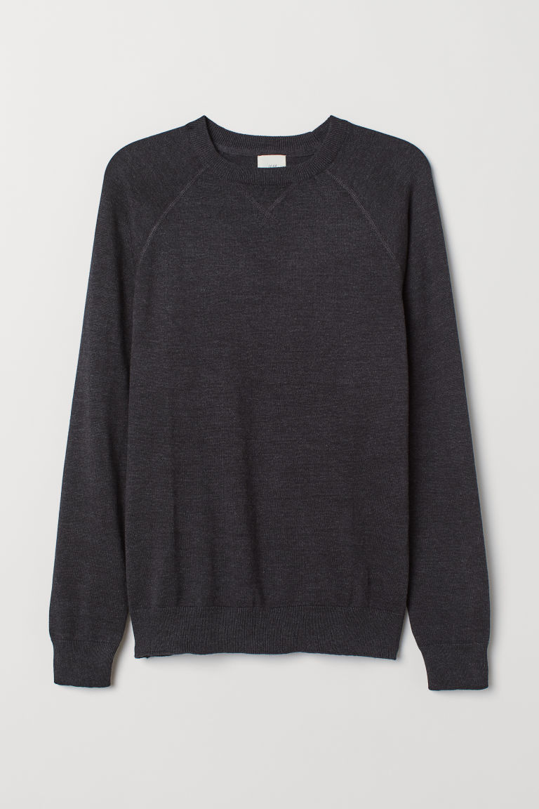 Cotton raglan-sleeved jumper - Black marl -  | H&M CN