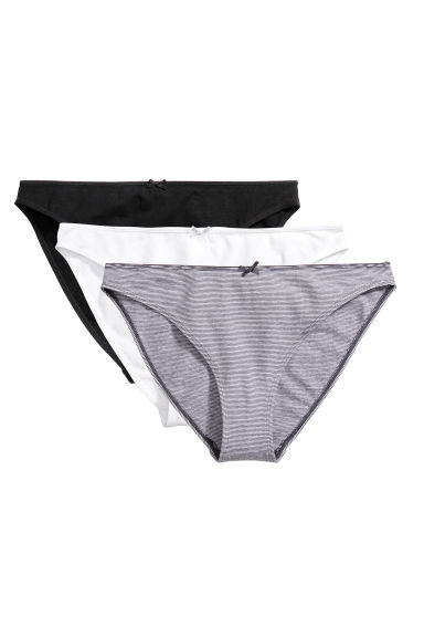 3-pack bikini briefs - Grey striped - Ladies | H&M