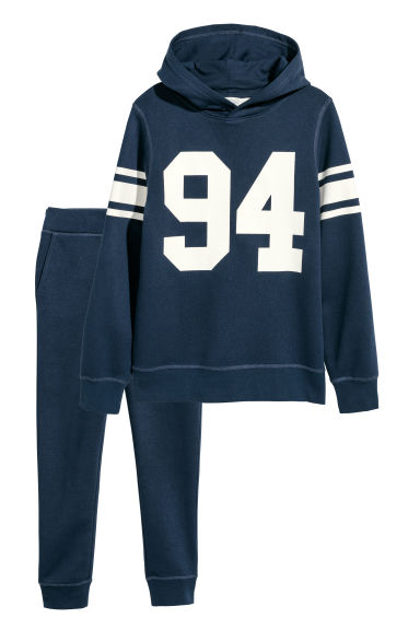 Hooded top and joggers - Dark blue/94 - Kids | H&M