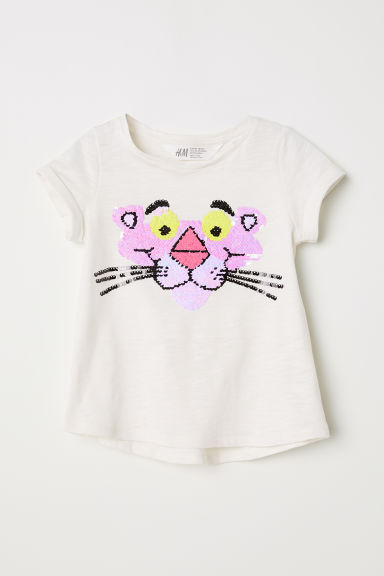 Top with reversible sequins - Natural white/Pink Panther - Kids | H&M CN