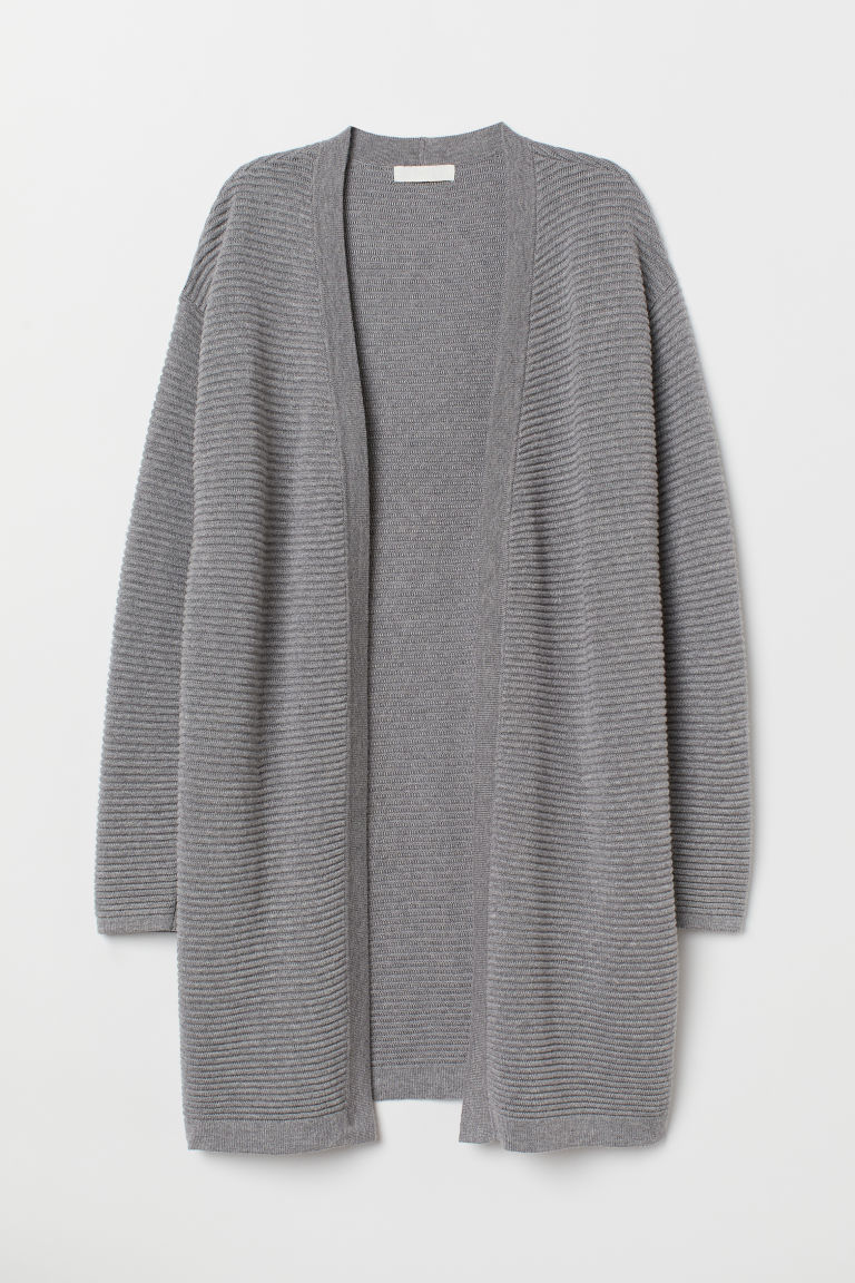 Textured-knit cardigan - Grey marl - Ladies | H&M