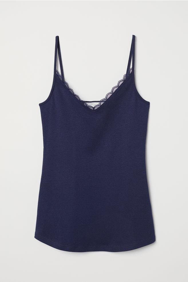 0b1b5cd6444587 Lace-trimmed Camisole Top - Dark blue - Ladies