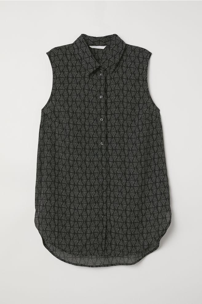 3e48978d57499 Sleeveless blouse - Black Patterned - Ladies