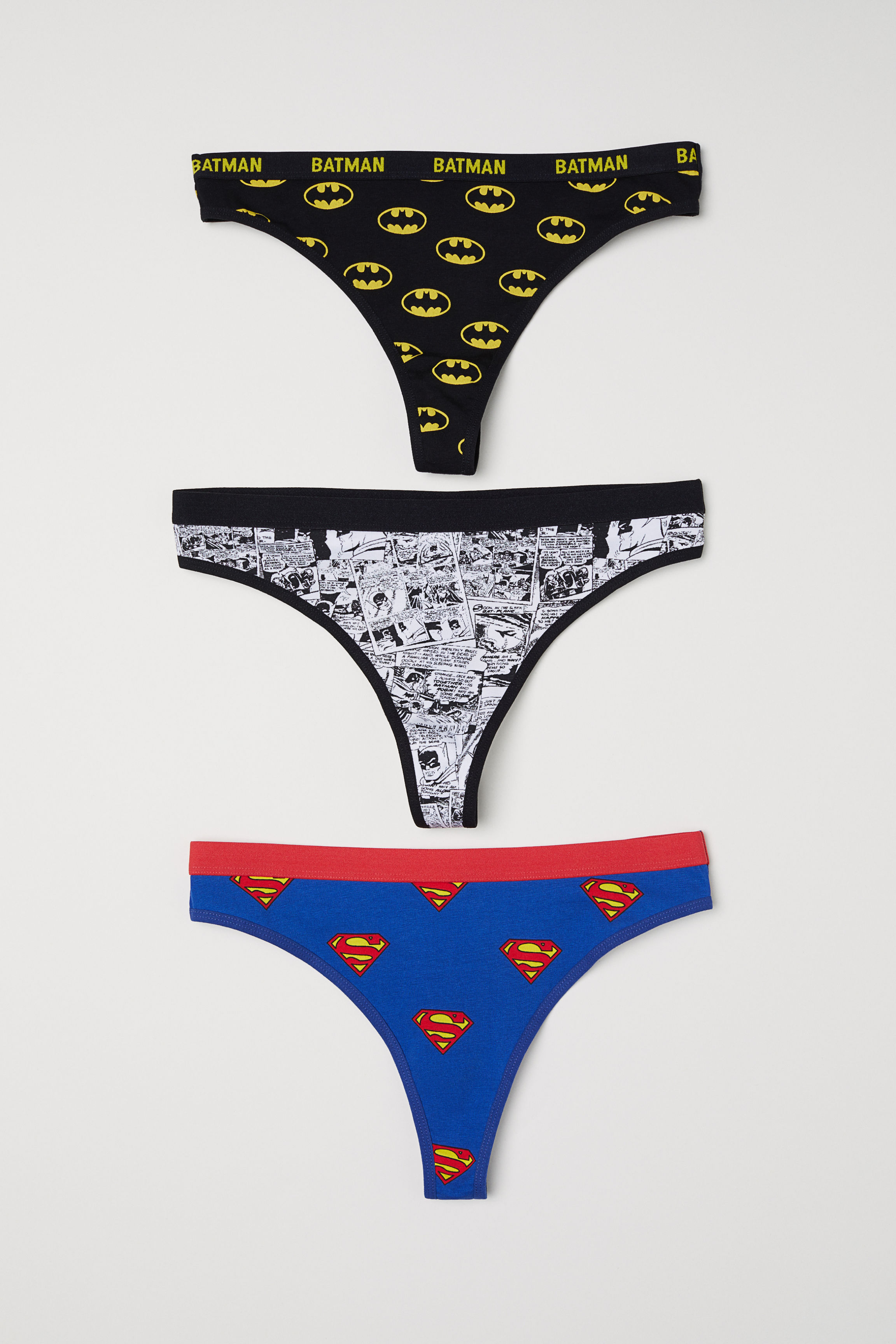 fa410eb5295e 3-pack Thong Briefs - Black Batman/Blue Superman - | H&M US