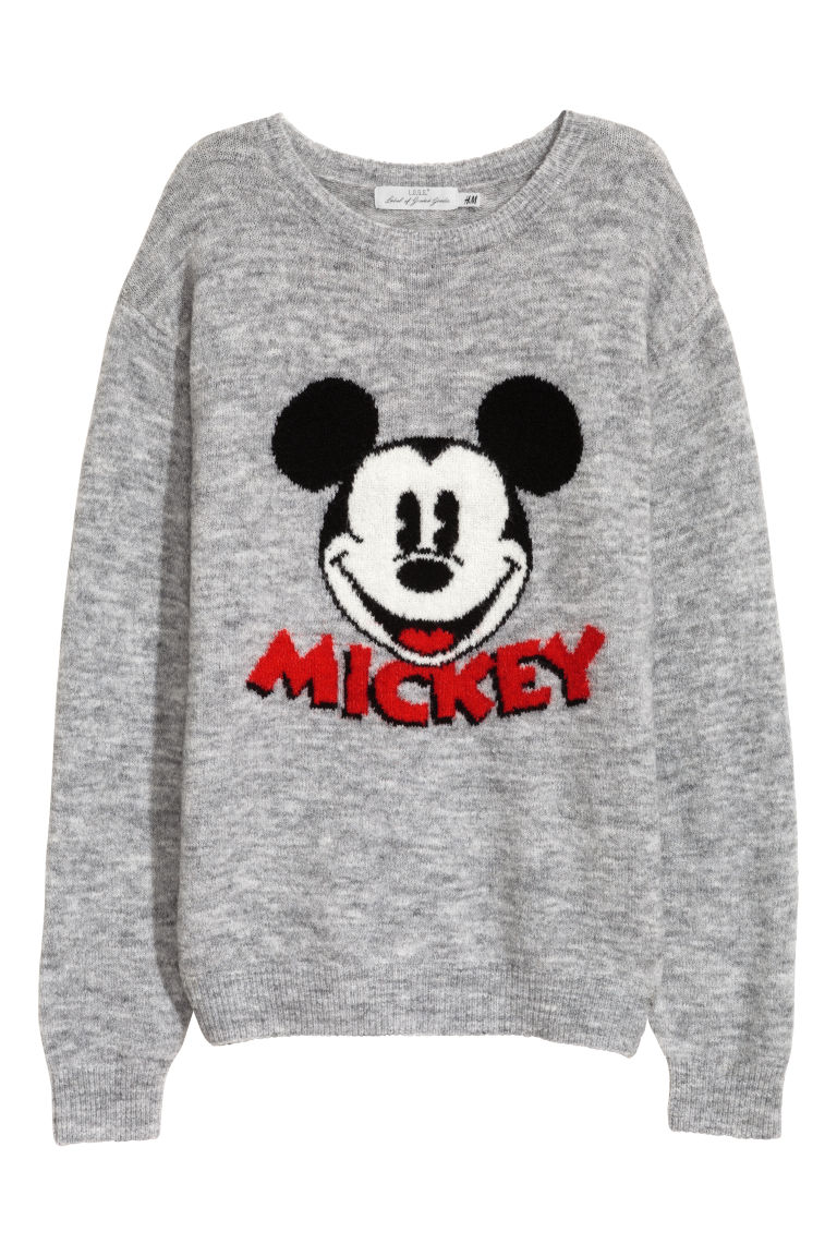 Fine-knit jumper - Grey/Mickey Mouse - Ladies | H&M