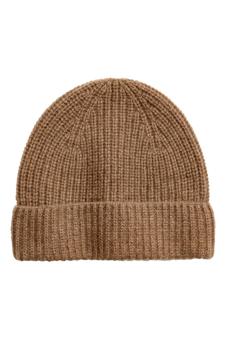 Ribbed cashmere hat - Dark beige - Men | H&M GB