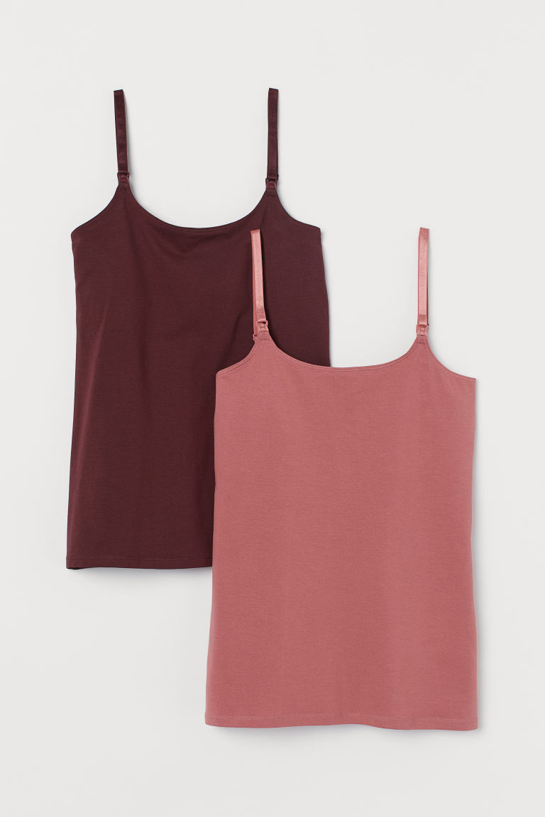 MAMA 2-pack nursing tops - Burgundy/Old rose - Ladies | H&M