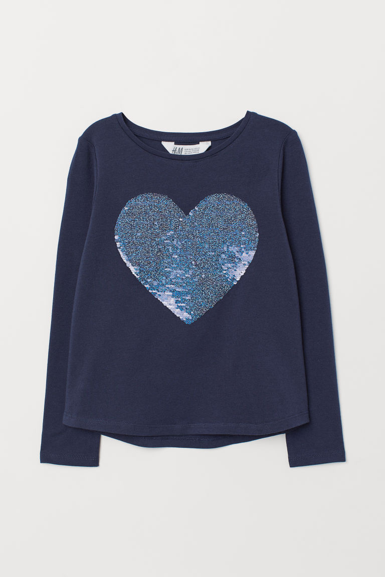 Sequin motif jersey top - Dark blue/Heart - Kids | H&M CN