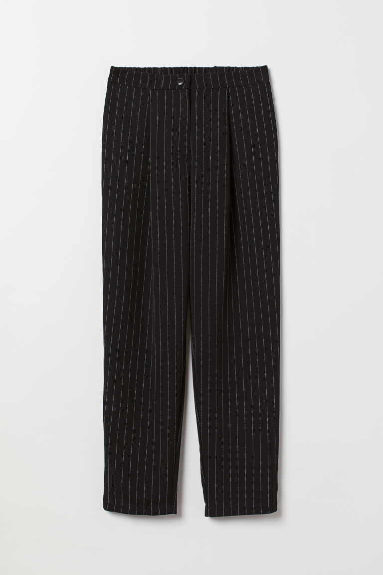 Wide trousers - Black/Pinstriped -  | H&M CN