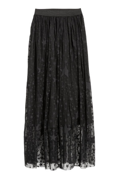 H&M+ Long mesh skirt - Black/Stars - Ladies | H&M