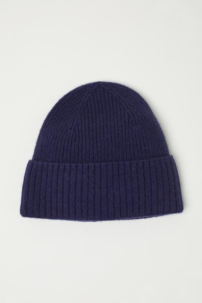 6dc714bfedf Ribbed cashmere hat - Dark blue - Men