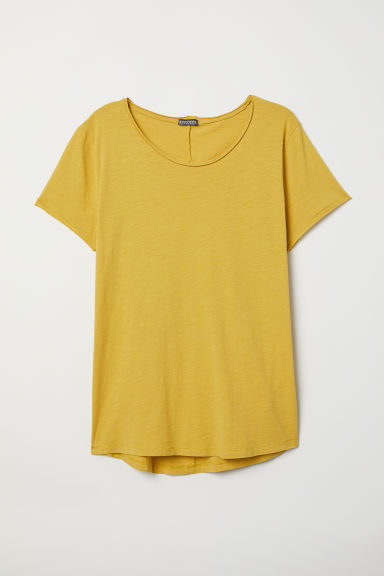 Raw-edge T-shirt - Yellow - Men | H&M