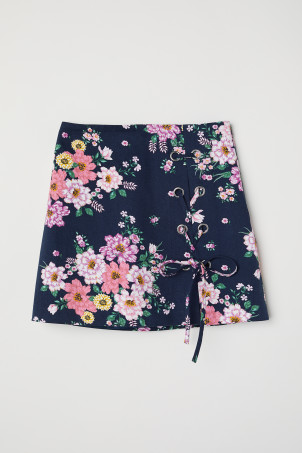 Patterned twill skirt