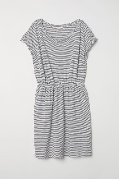 Jersey dress - Natural white/Black striped - Ladies | H&M IE