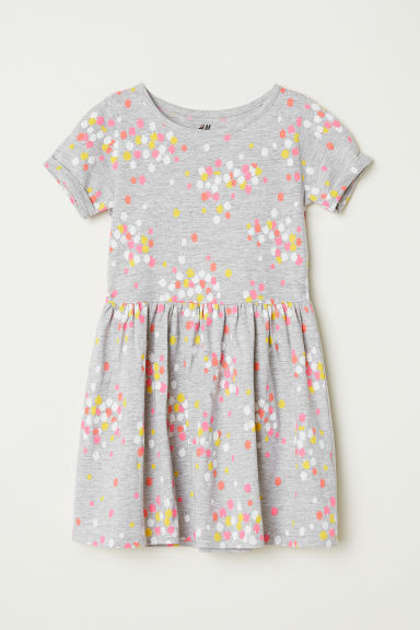 Short-sleeved jersey dress - Grey marl/Apple - Kids | H&M CN