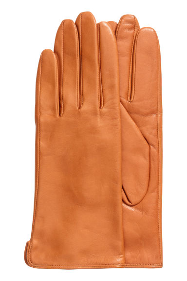 Leather gloves - Cognac brown -  | H&M GB