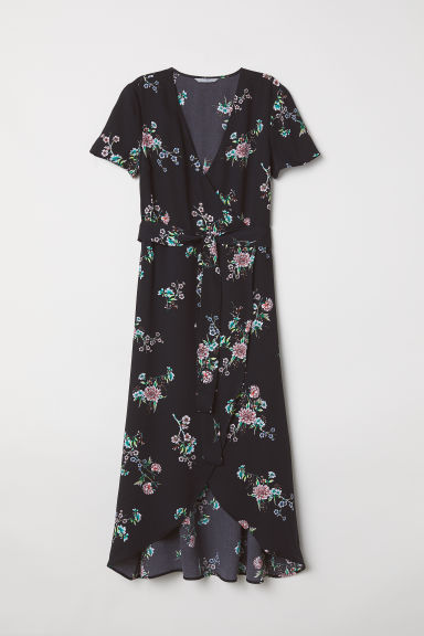Long wrap dress - Black/Floral -  | H&M