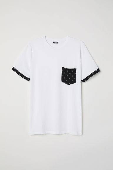 Cotton T-shirt - White/Black -  | H&M CN